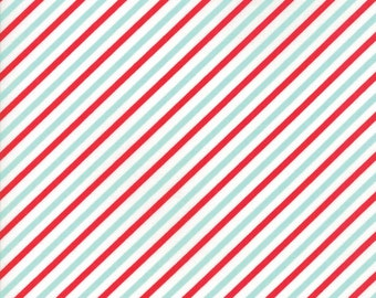 """Vintage Holiday (55168 12) Red Aqua Bias Candy Stripe Bonnie & Camille - 11"""" remnant"""