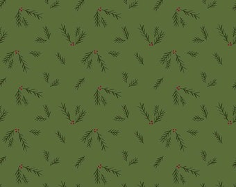 "Winterberry - Green Sprigs - My Mind's Eye - Riley Blake Designs - Christmas Fabric - 13"" remnant (C8447 GREEN)"