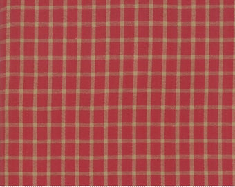 Northport Silky Wovens Red Tan Plaid by Minick & Simpson for Moda Fabrics  (12215 35) - Plaid Fabric