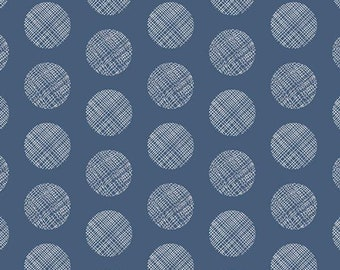 Pointelle Navy from Chromatics for Art Gallery Fabrics In House Studio (CHR-1101) Navy Print Fabric - Polka Dots