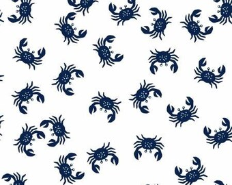 White Crabs - I Don't Give a Ship for Dear Stella - Low Volume Print - Navy and White Fabric - Cotton Quilting Fabric