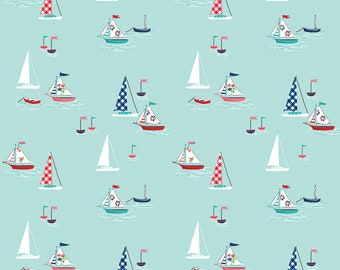 Seaside by Tasha Noel Seaside Boats Aqua (C7231-Aqua)