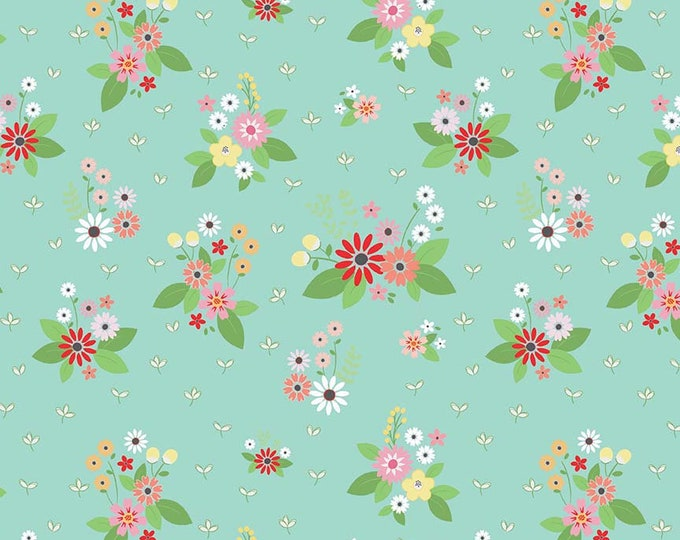 Vintage Keepsakes Floral Aqua (C7861-AQUA) by Beverly McCullough of Flamingo Toes for Riley Blake Designs.