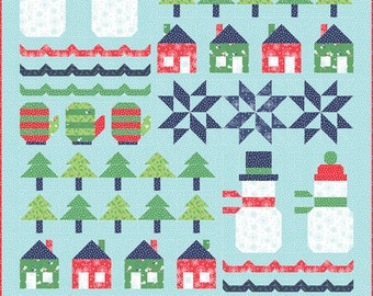 """Snow Day Quilt Kit By Stacy Iest Hsu for Moda (KIT20630) - FREE SHIPPING - Winter/Christmas Quilt  -57"""" x 71"""" Finished Size"""