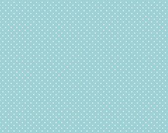 Riley Blake Designs, White Swiss Dot on Aqua  (C670 20)
