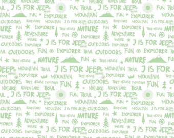 J Is For Jeep Words White (C6464) - Jeep Word Fabric - Nature, Adventure, Explorer - SALE - Riley Blake Designs