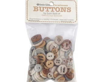 Lori Holt Cute Little Buttons Farmhouse Assortment -  Contains 30g of Brown Buttons