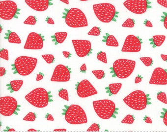 Farm Fresh Strawberry Patch Cloud by Gingiber for Moda Fabrics (48263 11) - Fun Low Volume Print - Strawberry Fabric