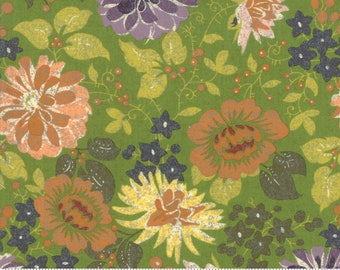 BasicGrey Hallo Harvest Olive Dahlias and Spider Mums (30600 16)  by BasicGrey for Moda - Halloween Fabric - Cotton Quilting Fabric