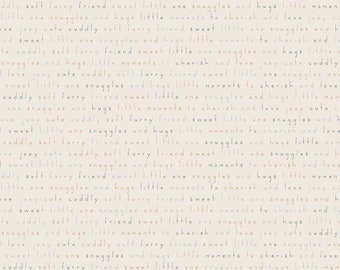 Joey Words Cream by Deena Rutter for Riley Blake Designs (C8494 CREAM) - Children's Fabric - Cotton Quilting Fabric - Low Volume Fabric
