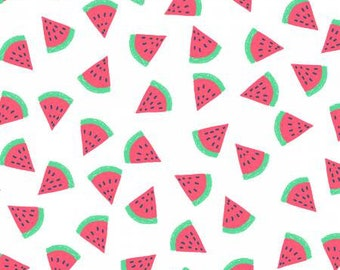 "Dear Stella - White Watermelon - Girl's Just Wanna Have Sun Collection - Low Volume Print - Watermelon Fabric - 25"" remnant"