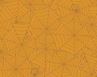 Costume Maker's Ball Orange Webs (C8366 ORANGE) Costume Maker's Ball by J. Wecker Frisch Riley Blake Designs - Halloween Fabric