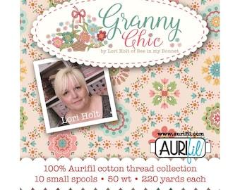 Granny Chic by Lori Holt - Aurifil Cotton Thread - (10) 18 yard spools - Aurifil Thread to match Lori Holt's Granny Chic Fabrics