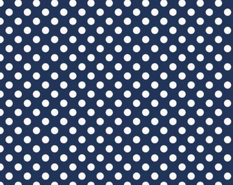 Navy Small Dots Fabric (C350 21) by Riley Blake Designs - Polka Dot Fabric - Navy Dots Fabric - Cotton Quilting Fabric