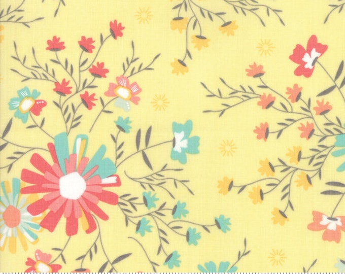 Sunnyside Up Floral Sugar Creek Lighthearted (Yellow) by Corey Yoder (Little Miss Shabby) for Moda (29051 12)