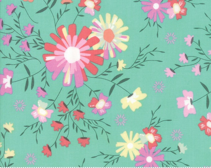 Sunnyside Up Floral Sugar Creek Rainwashed(Turquoise) by Corey Yoder (Little Miss Shabby) for Moda (29051 21)