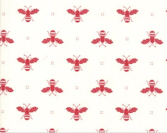 My Redwork Garden Cream and Red Honey Bee Yardage by Bunny Hill Designs for Moda Fabrics (2951 13) - Red and White Fabric