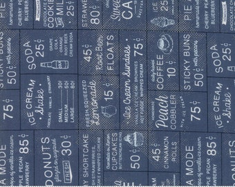 Sweet Tea Cafe in Navy by Sweetwater for Moda Fabrics - (5720-15)