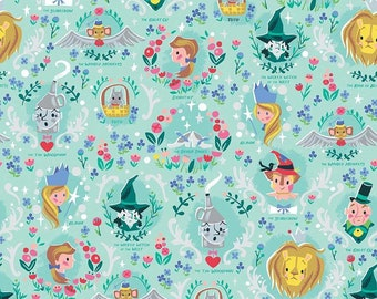 Dorothy's Journey Vignette Mint SPARKLE by Jill Howarth - Wizard of Oz Fabric - Glitter Fabric - Cut Options Available