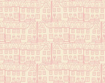 Little Town Glee from Emmy Grace by Bari J for Art Gallery Fabrics (EMG 5604) Low Volume Fabric - Pink and White Fabric