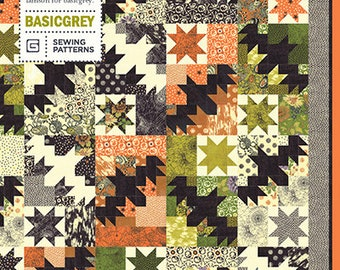 Night Flight Quilt Pattern by BasicGray for Moda Fabrics, Featuring Hallo Harvest (PAT013) - Halloween Quilt Pattern - BasicGray