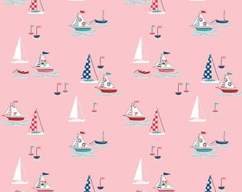 Seaside by Tasha Noel Seaside Boats Pink (C7231-Pink)