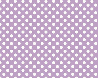 White Small Dots on Lavender (C350 120) - Riley Blake Small Dots - White Polka Dots on Purple Fabric - Lavender Small Dots