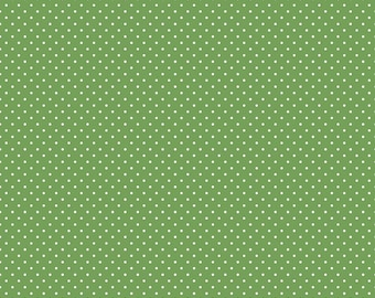 White Swiss Dot On Clover by Riley Blake Designs  (C670 Clover) - Swiss Dot Fabric - Cut Options Available