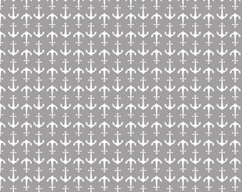Gray Anchor Print Fabric SALE (C564-40) - Gray Print Fabric - CLEARANCE - Riley Blake Designs