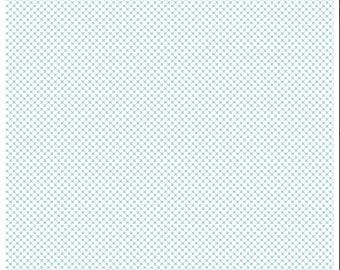 Aqua Kisses on White (C220) - Riley Blake Designs - Kisses Fabric - Aqua Print Fabric
