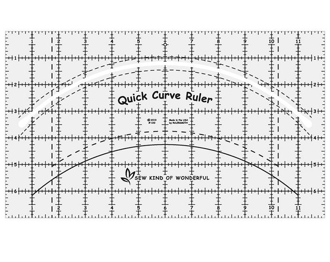 """Quick Curve Ruler - Sew Kind of Wonderful - Quilting Tool - 7"""" x 12"""""""