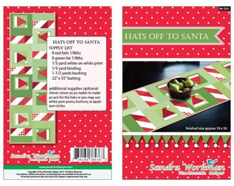 Hats off Santa Table Runner Kit Featuring Riley Blake Designs Basics Pattern by Sandra Workman