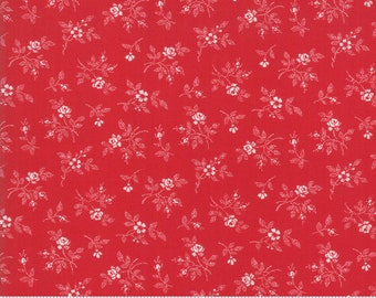 My Redwork Garden Red Flirty Fleurs Yardage by Bunny Hill Designs for Moda Fabrics (2956 11) - Red and White Fabric