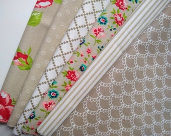 Taupe and White 1/4 Yard Bundle - SALE -(6) 1/4 yard cuts  - Quarter Yard - Bonnie and Camille fabrics - Cotton Quilting Fabric