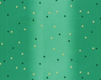 Ombre Confetti Metallic Kelly by V & Co for Moda Fabrics (10807 323M) - Metallic Dot Fabric - Polka Dot Fabric