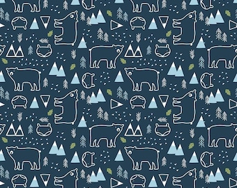 In The Forest Navy Bear and Fox Yardage by Riley Blake Designs (C8952-NAVY) - Cut Options Available