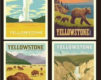 "National Parks Yellowstone Pillow Panel - 36"" x 43 1/2"" - Riley Blake Designs (PP8796-YELLOW) - National Park Fabric"