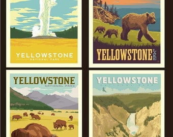 "National Parks Yellowstone Pillow Panel - 36"" x 43 1/2"" - Riley Blake Designs (PP8935-YELLOW) - National Park Fabric"