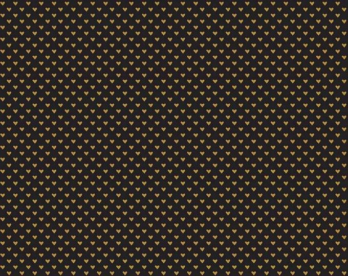 Hello Sweetheart Mini Hearts Black Sparkle fabric by Echo Park Paper Co. for Riley Blake Designs (SC7624-BLACK)