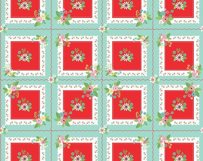 Vintage Keepsakes Handkerchief Aqua (C7864-AQUA) by Beverly McCullough of Flamingo Toes for Riley Blake Designs.