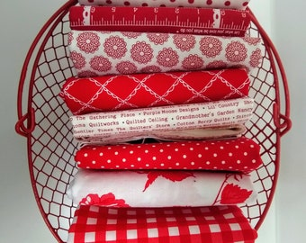 Stitches FQ Bundle - Red and White Fat Quarters - (8) FQs