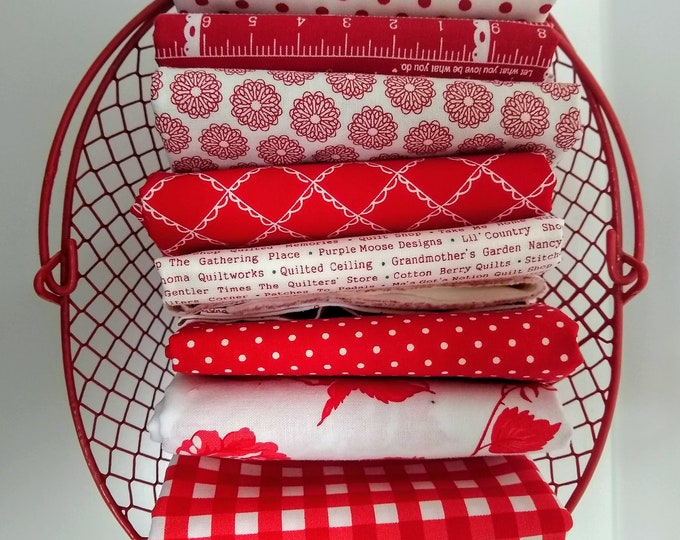 Stitches Half Yard Bundle - Red and White fabrics- (8) Half Yards