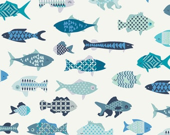 Catch and Release School of Fish by Mister Domestic for Art Gallery Fabrics (CTR-24900) Low Volume Fabric - Fishing Fabric