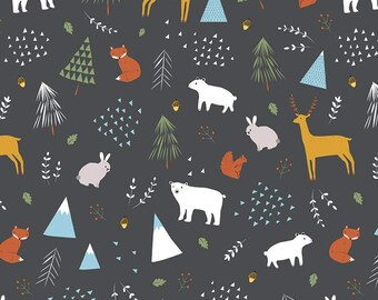 Into The Forest Main Gray Designer Knit by Riley Blake Designs -  Jersey KNIT Cotton Lycra Stretch Fabric - Cut options (K9165-GRAY)