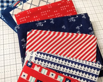 Tasha Noel Custom Patriotic Bundle SALE - Varying Sizes - 8 different pieces - All Tasha Noel Fabrics - Fabric Bundle
