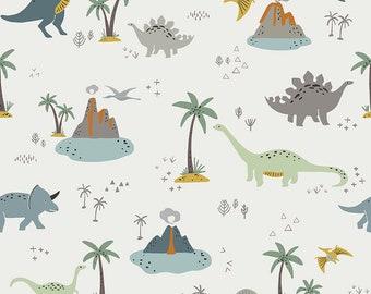 Fossil Rim 2 Cream Main by Deena Rutter for Riley Blake Designs (C8870-CREAM) - Dinosaur Fabric - Cut Options Available