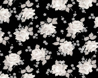 Serenity Black Roses by Gerri Robinson for Riley Blake Designs (C8811-BLACK) - Cut Options Available