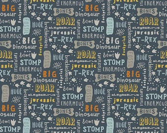 Fossil Rim 2 Navy Words by Deena Rutter for Riley Blake Designs (C8871-NAVY) - Dinosaur Fabric - Cut Options Available