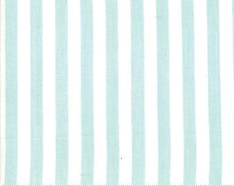 Bonnie and Camille Wovens Aqua Stripe for Moda Fabrics  (12405 11) - Striped Aqua Fabric - Woven Fabric