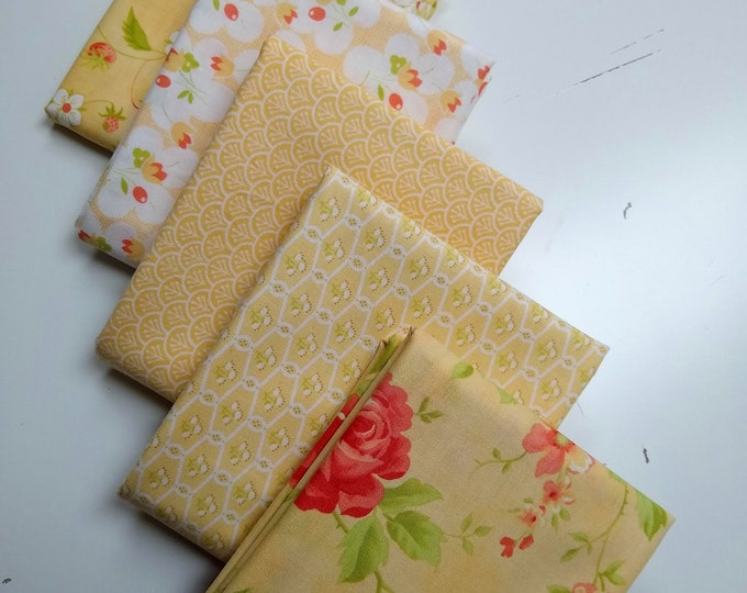 Fig Tree Chantilly Half Yard Yellow Colorway Bundle - 5 prints by Fig Tree and Co.